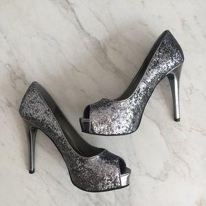 Guess Pewter Glitter Platform Peep Toe Heels